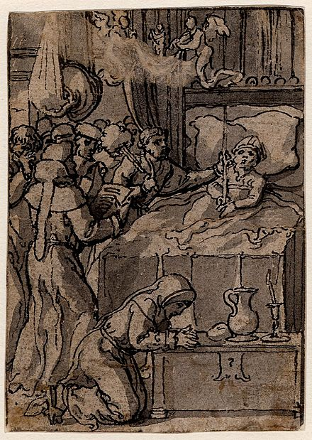 Dying bishop in bed surrounded by monks Pieter Coeck van Aelst - A dying bishop in bed with a group of monks.jpg