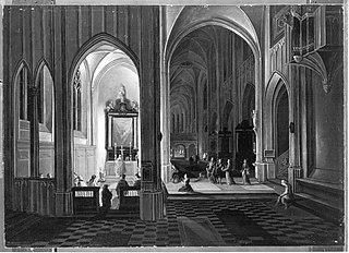 Abendgottesdienst in einer gotischen Kirche (Kopie nach)