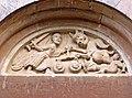 Pieve di San Biagio (Talignano, Sala Baganza) - lunetta della Psicostasia sul portale d'ingresso 2019-09-16.jpg
