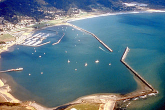 Half Moon Bay, California - Aerial view of Pillar Point Harbor. View is to the east.