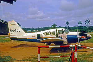 Aero Contractors (Nigeria) -  A Piper PA-23 Aztec six-seat charter aircraft of Aero Contractors in 1970, pictured at Warri Airport after a flight from Lagos Ikeja Airport