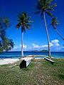 Pirogue sous cocotiers à Bora Bora.jpg