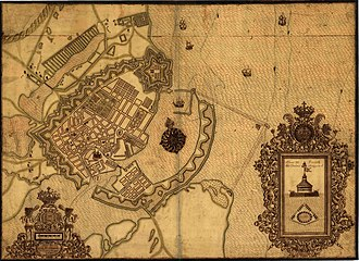 Sophie Amalienborg - Sophie Amalienborg's garden seen to the south-east of the larger Rosenborg Castle Gardens, halfway between the city centre in the bottom-left corner and Copenhagen Fortress in the upper right corner. Map from 1710.