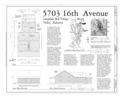 Plan and Elevations - 5703 Sixteenth Avenue (House), 5703 Sixteenth Avenue, Valley, Chambers County, AL HAER AL-175 (sheet 1 of 1).png