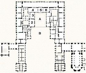 Plan De Lu0027appartement Du Roi : 1 : Vestibule 2 : Salle Des Gardes 3 :  Première Antichambre, Dite Salon Du Grand Couvert