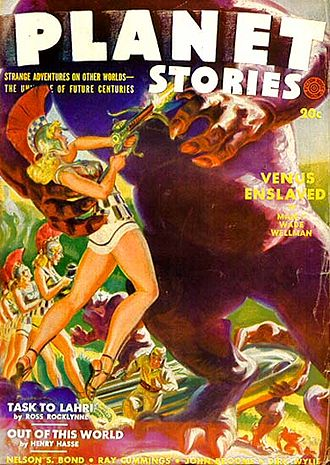 "Manly Wade Wellman - Wellman's novelette ""Venus Enslaved"" was the cover story in the Summer 1942 Planet Stories"
