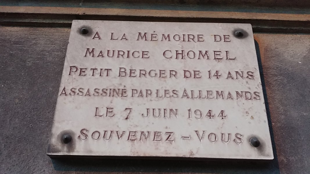 Plaque comménorative rue Maurice Chomel