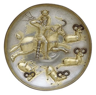 Kavad I - Plate of a Sasanian king hunting rams, perhaps Kavad I