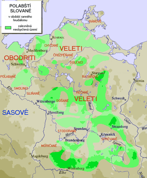 Veleti - Grey: Former settlement area of the Polabian Slavs. Green: Uninhabited forest areas. Darker shade just indicates higher elevation.