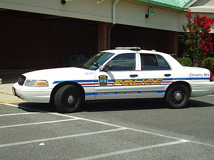 A police car of the Westtown-East Goshen Regional Police Department, serving Thornbury, East Goshen, and Westtown townships in Chester County PoliceCarWesttownEastGoshenThornbury.JPG