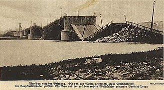 Great Retreat (Russian) - Poniatowski Bridge in Warsaw after being blown up by the retreating Russian Army in 1915.
