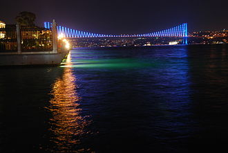 Bosphorus Bridge - Since April 2007, a computerised LED lighting system of changing colours and patterns, illuminates the bridge at night.