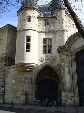 École Nationale des Chartes - The Hôtel de Clisson and entrance to the École des Chartes from 1846 to 1866
