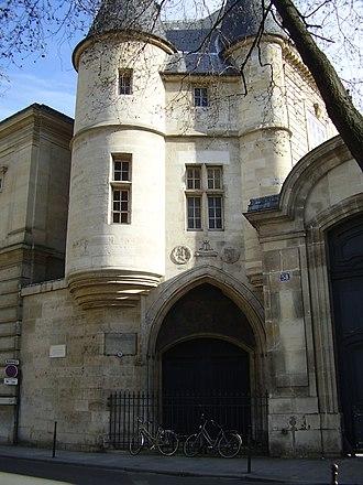 École Nationale des Chartes - The Hôtel de Clisson and entrance to the École des chartes from 1846 to 1866.