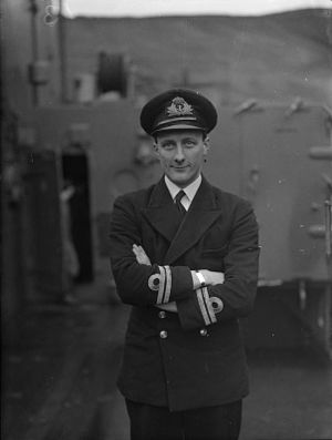 HMS Trident (N52) - Lt P E Newstead RN, Commanding Officer of HMS Trident, Holy Loch, 6 February 1943 (IWM A14398)