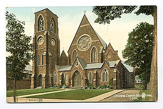 National Register of Historic Places listings in Middletown, Connecticut - Image: Postcard Episcopal Church Middletown CT1910