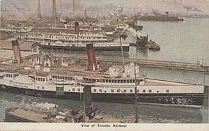 Texas (steamboat) - In this  c.1925 postcard of the Toronto waterfront, the Canada Steamship Lines steamboats Chippewa and Toronto show differences in the texas which is just aft of the pilothouse on the upper texas-deck