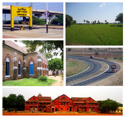 Montage of Prakasam district.  clockwise from top left:Ongole railway station, Paddy fields at rural parts, NH5 at Ongole, ABM Junior College in Ongole, Donakonda Church Side Entrance.