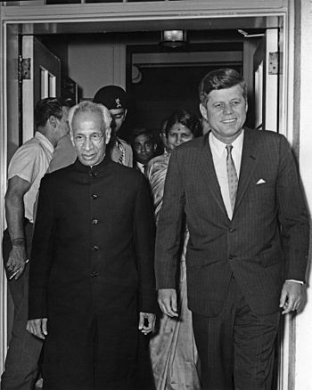 President John F. Kennedy and President Dr. Sarvepalli Radhakrishnan of India Exit White House.jpg