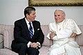 President Ronald Reagan meeting with Pope John Paul II at the Fairbanks Airport in Alaska.jpg