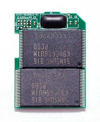 Inside a 16 GB SDHC card Pretec 16GB SDHC without cover 20090420.jpg