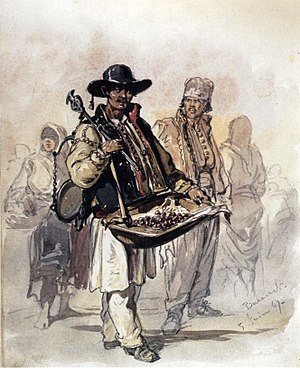 Peddler - Cherry peddler in Bucharest, by Amadeo Preziosi, c. 1869