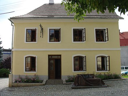 Freud's birthplace, a rented room in a locksmith's house, Freiberg, Austrian Empire, (later Pribor, Czech Republic). Pribor - Birthplace of Sigmund Freud.jpg