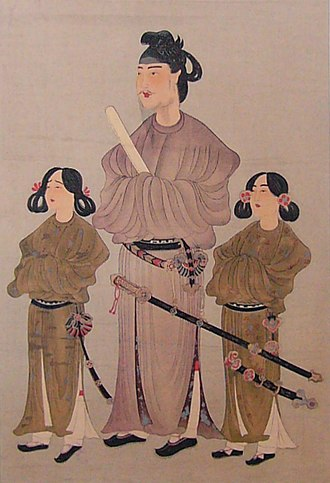 Prince Shōtoku - Prince Shōtoku flanked by younger brother (left: Prince Eguri) and first son (right: Prince Yamashiro), drawn by unknown author.