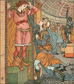 Princess Belle-Etoile - Princess Belle-Etoile rescues Prince Cheri, in an illustration by Walter Crane
