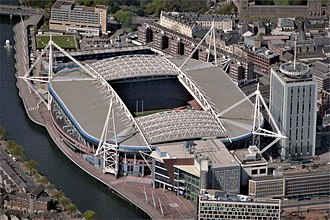 Millennium Stadium - Aerial view of the Principality Stadium in 2016