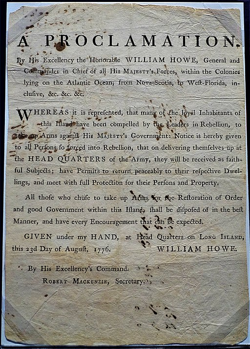 Proclamation by William Howe, General and Commander-in-Chief - Museum of the American Revolution by Joy of Museums