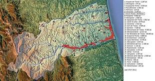 Mappa fisica e topografica della Provincia di Ascoli Piceno
