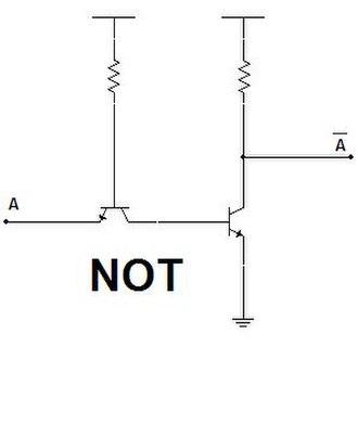 Inverter (logic gate) - Image: Puertas NOT con transistores