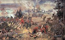Painting of the death of General Brock at the Battle of Queenston Heights by John David Kelly, published 1896
