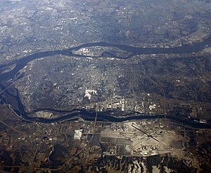 English: The , where the Rock River (below) jo...