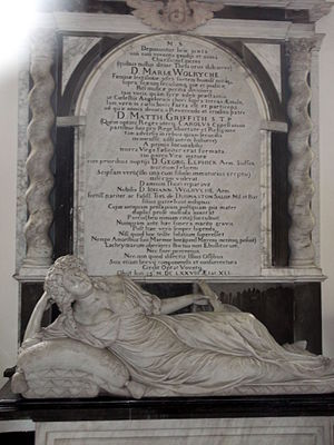 John Wolryche - Monument to Mary Wolryche née Griffith (died 1678). St Andrew's church, Quatt.