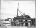 Queensland State Archives 3594 Main bridge erection stage 2 main bearings and cross girder on north main pier erected Brisbane 5 October 1937.png
