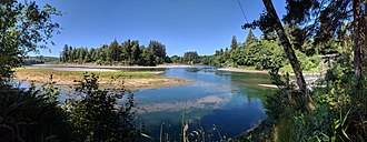 Quillayute River - Panoramic view, from Leyendecker Park, of the confluence of the Bogachiel River (left and center) and the Sol Duc River (right) to form the Quillayute