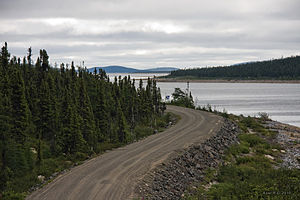 Trans-Taiga Road - The Transtaiga Road at the Caniapiscau Reservoir.