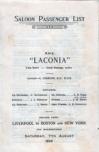 "RMS Laconia (1921) - Laconia ""Saloon Passenger List"" 7 August 1926"