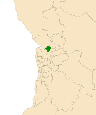 Electoral district of Ramsay - Electoral district of Ramsay (green) in the Greater Adelaide area