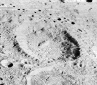 Ramsay (crater) - Oblique Lunar Orbiter 2 view, facing south