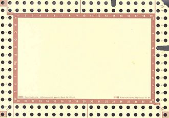 Edge-notched card - A notched card showing two levels of notching.