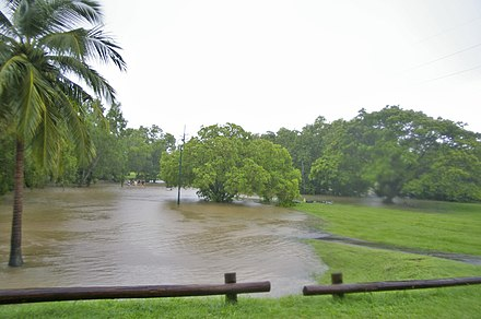 Flooding of a creek due to heavy monsoonal rain and high tide in Darwin, Northern Territory, Australia. Rapid Creek flooding 1.jpg