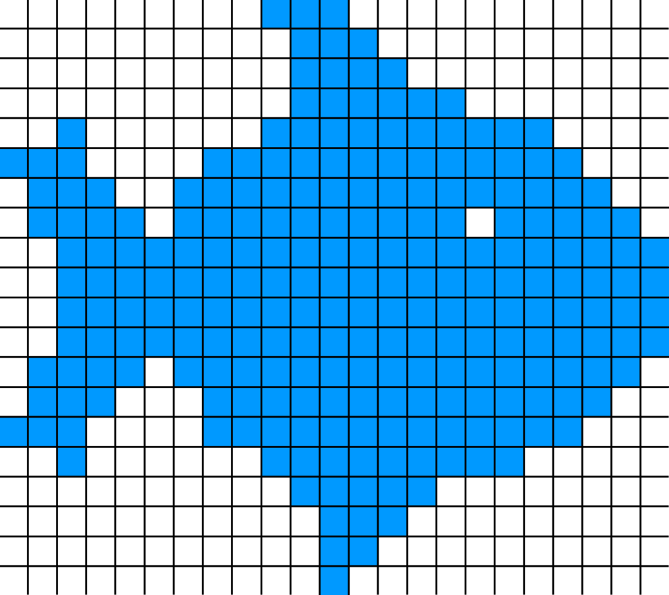 Raster graphic fish 20x23squares sdtv-example