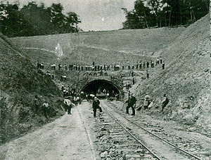 South Pennsylvania Railroad - Rays Hill Tunnel during construction of the railroad tunnel in the 1880s. Andrew Carnegie is present in the middle of the image. The tunnel was later used by the Turnpike until bypassed in 1968.