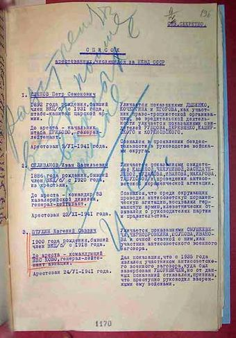 "Beria's proposal of 29 January 1942, to execute 46 Soviet generals. Stalin's resolution: ""Shoot all named in the list. - J. St."" Red Army purge 1941.jpg"