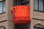 Red coffee cup-shaped balcony, Niimi Tableware, Kappabashi Dougu Street, Tokyo, Japan.jpg