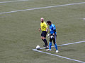 Refereen Jasen Anno and goalkeeper Joe Cannon.jpg