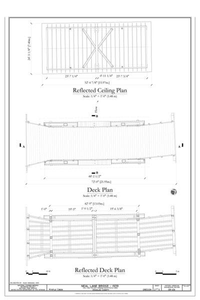 File:Reflected Ceiling Plan; Deck Plan; Reflected Deck Plan - Neal Lane Bridge, Spanning South Myrtle Creek, Neal Lane (CR 124), Myrtle Creek, Douglas County, OR HAER OR-126 (sheet 2 of 5).tif